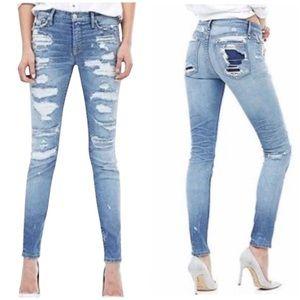 Hudson Distressed Nico Super Patchwork Jeans